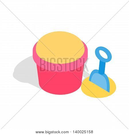 Bucket and shovel for childrens sandbox icon in isometric 3d style on a white background