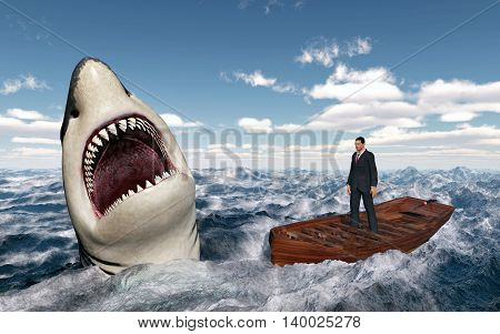Computer generated 3D illustration with a businessman in a boat in the stormy sea and a great white shark