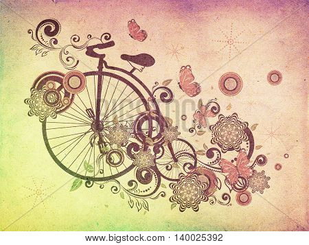 Old Bicycle And Floral Ornament Grunge
