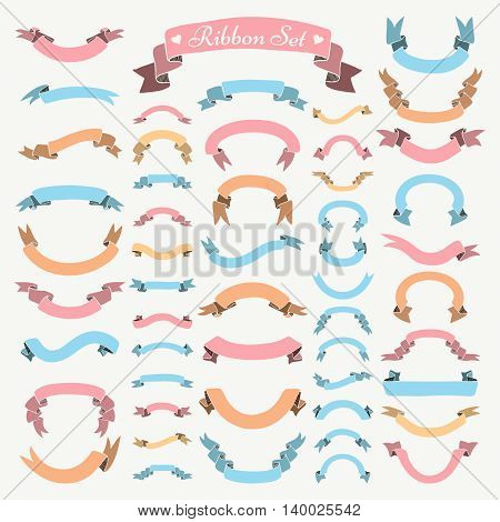 Set of Colorful Hand Drawn Ribbons and Banners. Doodle Sketched Rustic Decorative Ribbons Shape Variation. Vintage Vector Illustration.