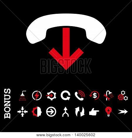 Phone Hang Up vector bicolor icon. Image style is a flat iconic symbol, red and white colors, black background.