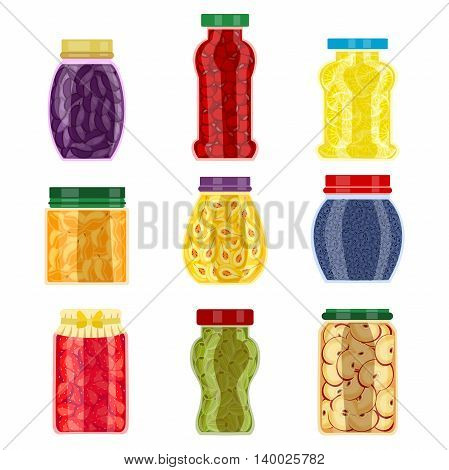 Homemade jam jars of different shape with seasonal fruit and colored lids isolated vector illustration
