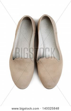 pair of women's shoes light top view. Isolate on white background.