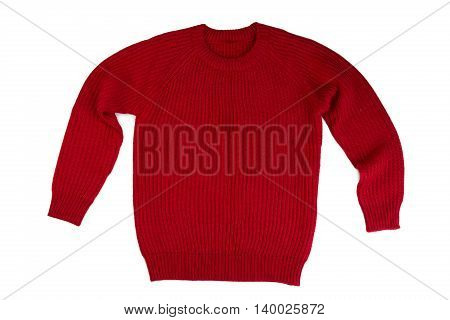 Red knitted sweater. Isolate on white design