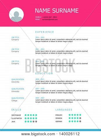 Professional simple styled resume template design with pink and blue headings.