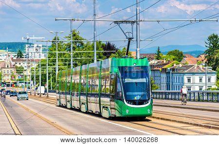 Tram on Wettstein Bridge in Basel, Switzerland