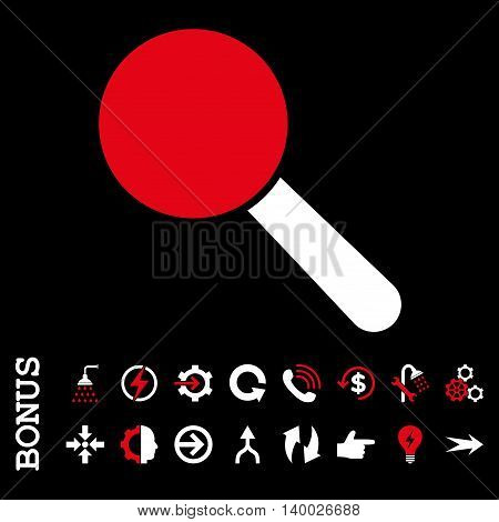 Search Tool vector bicolor icon. Image style is a flat iconic symbol, red and white colors, black background.