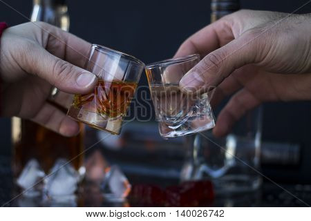 People holding glasses with alcohol and making toast close-up