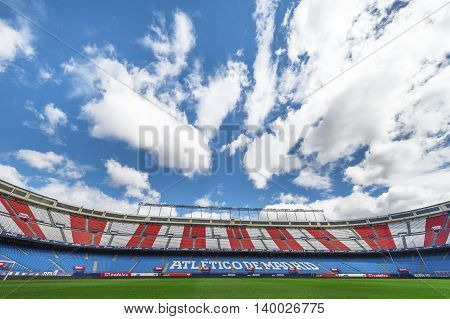 MADRID,SPAIN-MARCH 2016: Vicente Calderon stadium -  the official playground of FC Atletico on a sunny day