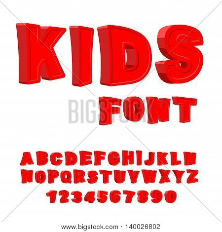 Kids Font. 3D Letters. Alphabet For Children. Red Funny Abc For Babies