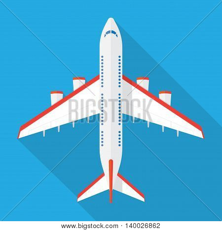 Airplane view from above isolated with long shadow. Airplane icon in a flat style