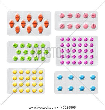 Vector Set Of Various Medical Pills In Packaging Flat Style