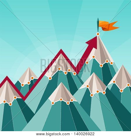 Vector Success And Leadership Concept With Mountain Landscape