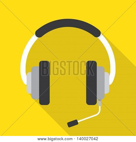 Headphones with microphone Icon Vector on yellow background with long shadow