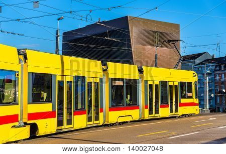 Tram in the city centre of Basel, Switzerland