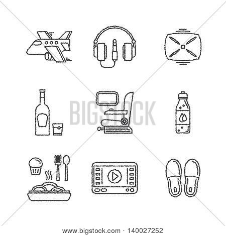 Set Of Vector Travel Icons In Sketch Style