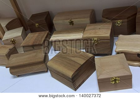 Group of wooden boxes on the counter in the store