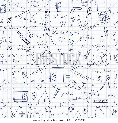 Seamless pattern with formulas and charts on the topic of mathematics and educationdark blue outline on a light background in a cage