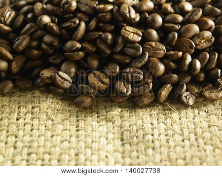 roasted coffee bean on the burlap