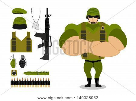 Soldiers And Weapons. Set Of Military Ammunition For War. Army Collection. Armed Forces. Big Strong