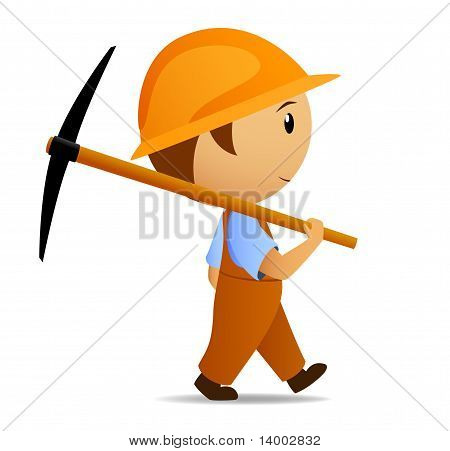Cartoon Digger With Pick