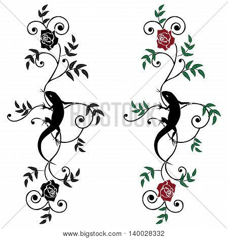 set of vector illustration with lizard and rose