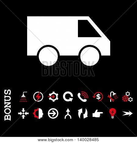 Van vector bicolor icon. Image style is a flat pictogram symbol, red and white colors, black background.