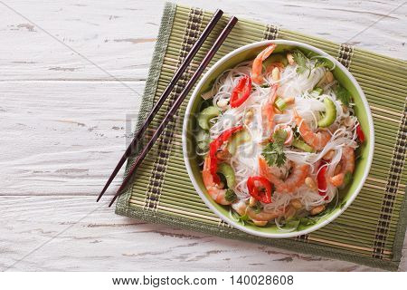 Spicy Thai Salad Yam Woon Sen With Seafood Close Up. Horizontal Top View