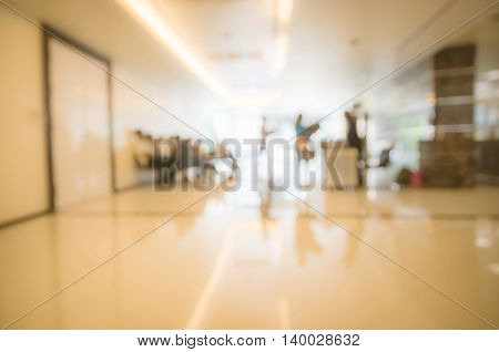 Blurry indoor hall of office abstract backgound