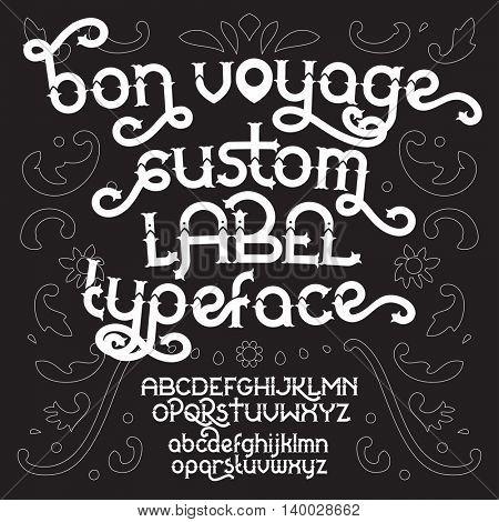 Custom retro typeface Bon Voyage. Vector illustration