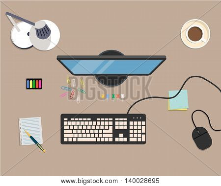 Top view of a desk background, where there is a monitor, keyboard, computer mouse, desk lamp, stationery, documents and cup of coffee. Vector flat illustration
