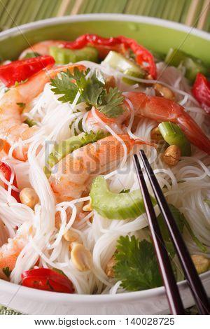 Thai Salad Yum Woon Sen Macro On A Plate. Vertical