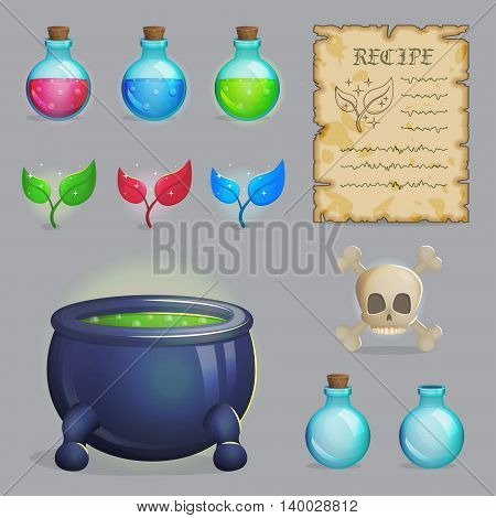 Collection of items to brew a magic potion. Witch accessories for making health, manna and other elixirs, cauldron, magic ingredients, ancient recipe, containers and scull. Game and app ui icons