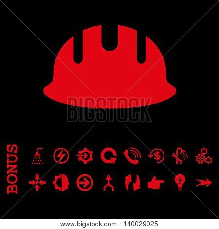 Builder Hardhat vector icon. Image style is a flat pictogram symbol, red color, black background.