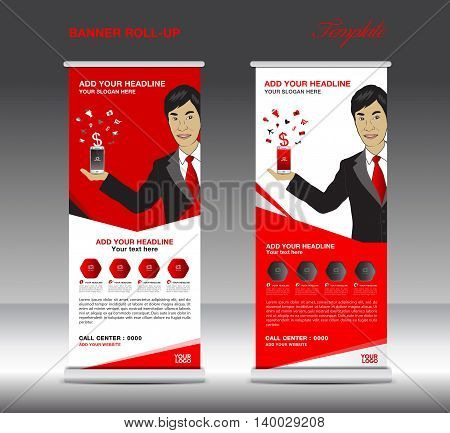 Red Roll up banner template and Business Man Mobile infographics stand display advertisement vector