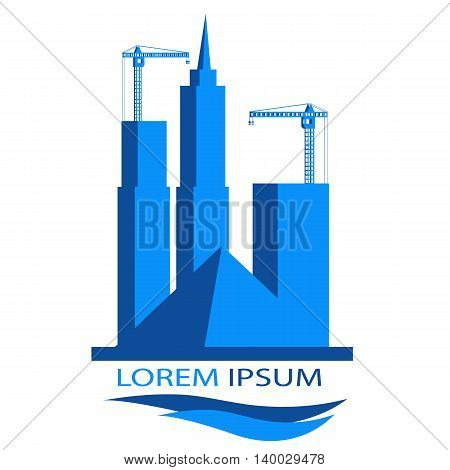 Universal logo for a construction company with the image piromidy construction cranes and high-rise buildings