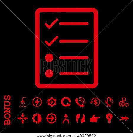 Checklist Page vector icon. Image style is a flat iconic symbol, red color, black background.