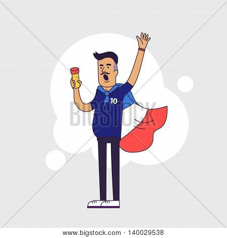 Fan of France national football team sports. Character with flag in the national colors. Flat line style design