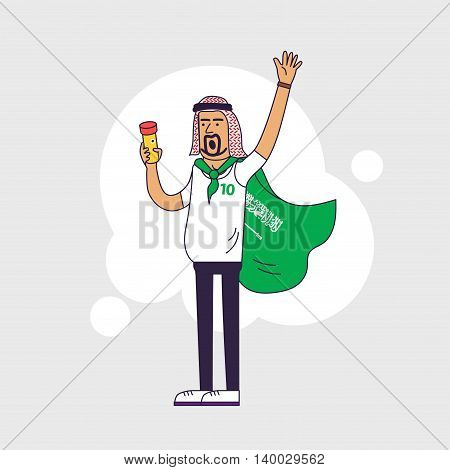 Fan of Saudi Arabia national football team sports. Character with flag in the national colors. Flat line style design