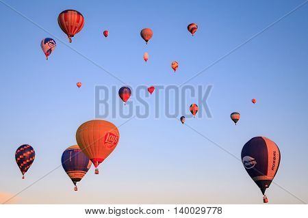 Kungur town, Russia - June 25 2016, - hotfire balloons festival,