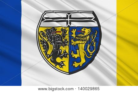 Flag of Viersen is a district in the west of North Rhine-Westphalia Germany. 3d illustration
