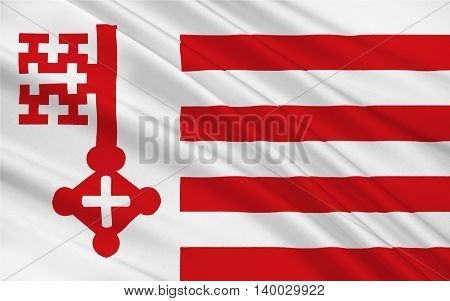 Flag of Soest is a city in North Rhine-Westphalia Germany. 3d illustration