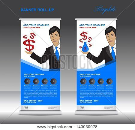 Blue Roll up banner template and Business Man Mobile infographics stand display advertisement vector