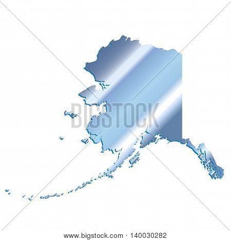 3D Alaaska (USA) Iridium Blue outline map with shadow