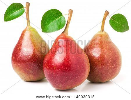 Three red pears with leaves isolated on white background.