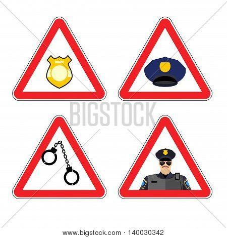 Warning Sign Police Attention. Dangers Yellow Sign Detention. Police Badge And Police Cap. Set Road