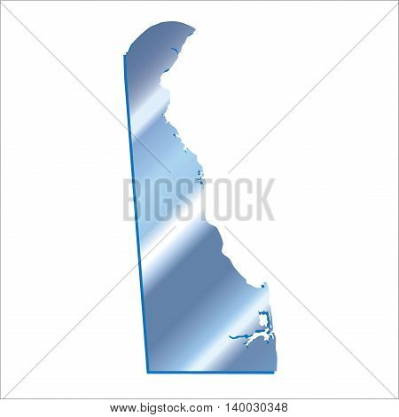 3D Delaware (USA) Iridium Blue outline map with shadow