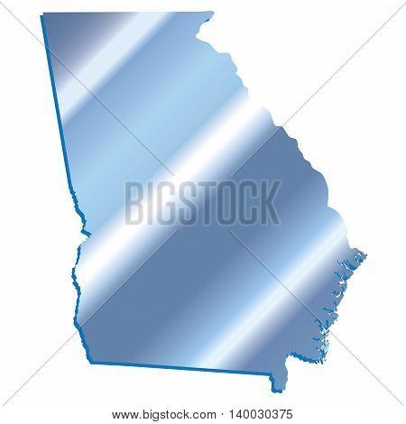 3D Georgia (USA) Iridium Blue outline map with shadow