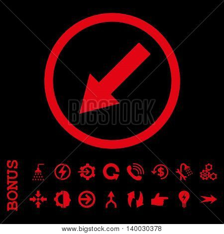 Down-Left Rounded Arrow vector icon. Image style is a flat iconic symbol, red color, black background.