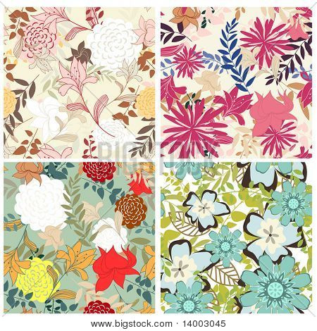 Seamless vector floral pattern set. For easy making seamless pattern just drag all group into swatches bar, and use it for filling any contours.